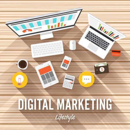 redes de mercadeo: Ilustración Diseño plano. concepto de elemento de marketing digital en el fondo de madera.