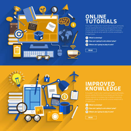 Concept illustrate style flat design about online tutorial and improve knowledge. Ilustração