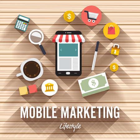 トップ ビュー要素モバイル マーケティングの木製の背景にフラットなデザイン。記事はオンライン ショッピングを示しています。