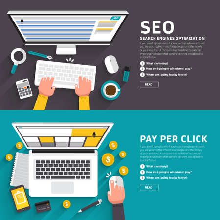 ilustracion: Concepto de diseño Piso en el artículo seo y anuncio de pago en línea por cada clic. ilustrar para la bandera diseño flexible.