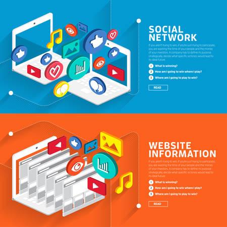 소셜 네트워크와 웹 사이트 정보 스타일 아이소 메트릭 3D에 대한 스타일의 평면 디자인을 보여줍니다.