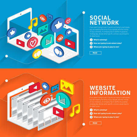 business network: Illustrate style flat design about social network and website information style isometric 3d.