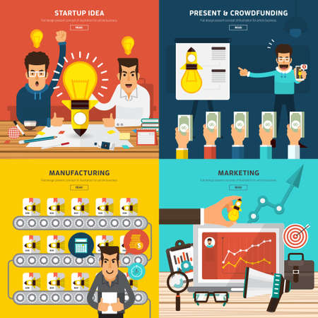 생각, 현재, 군중 자금 조달, 제조 및 마케팅에서 새로운 비즈니스 프로세스를 시작 플랫 디자인의 개념입니다.