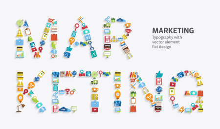 advertising sign: Text MARKETING Typography style with flat design element. Illustration