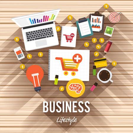 나무 배경에 상위 뷰 요소 사업 평면 디자인. 온라인 문서 쇼핑에 대한 설명.
