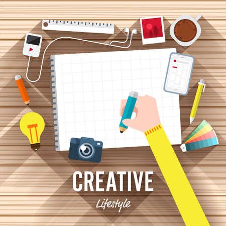 Bovenaanzicht element creatief vlak ontwerp op houten achtergrond. illustreren voor artikel creatieve proces.
