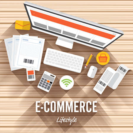 Top view element e-commerce flat design on wood background. illustrate for article shopping online. Illustration