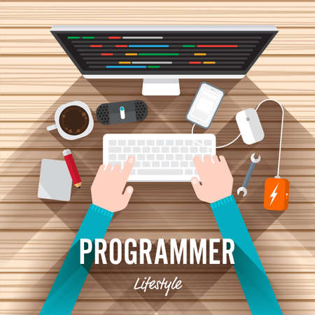 Top view element programmer flat design on wood background. illustrate for article shopping online.