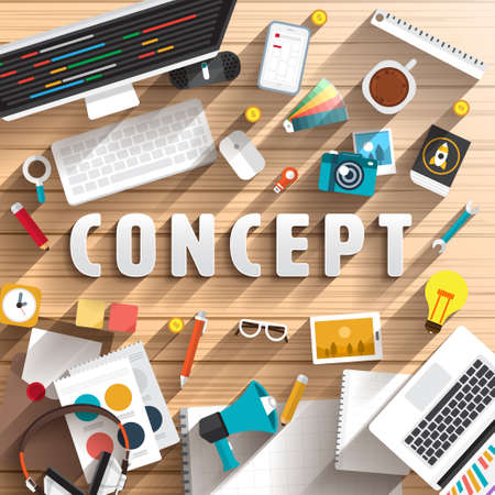 articulos oficina: vista desde arriba de la mesa de trabajo para preparar CONCEPTO texto. Ilustración Diseño plano.