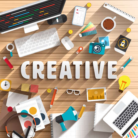 creative idea: top view of desk prepare working for text CREATIVE. Flat design illustration. Illustration