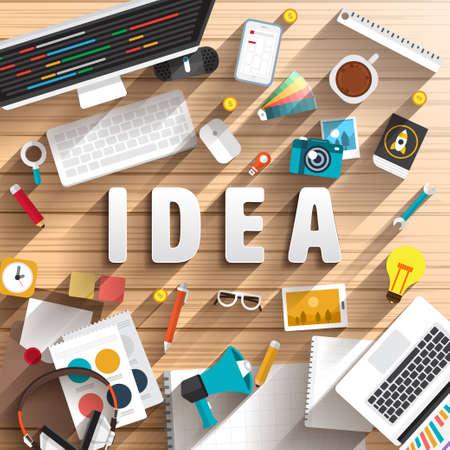 bovenaanzicht van een bureau voor te bereiden werken voor tekst IDEA. Platte ontwerp illustratie.