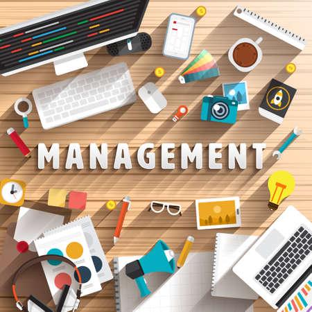 prepare: top view of desk prepare working for text MANAGEMENT. Flat design illustration.