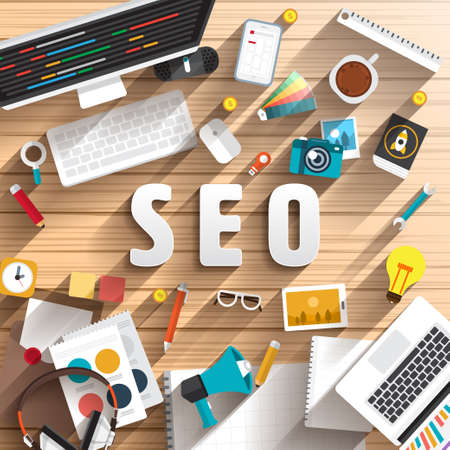 top view of desk prepare working for text SEO ( search engine optimize ).Flat design illustration. Vector