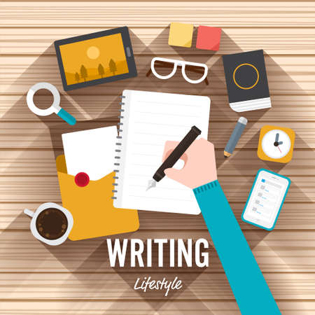 article writing: Top view writing marketing flat design on wood background. illustrate for article shopping online.