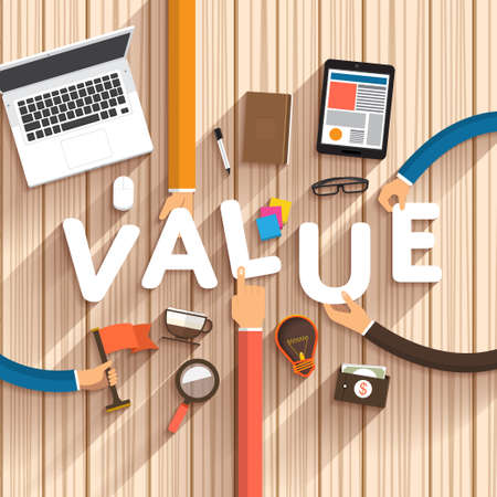 "Design plat parler de marketing numérique en tant que texte ""Value"" sur desktop.Vector Illustration Banque d'images - 41637757"