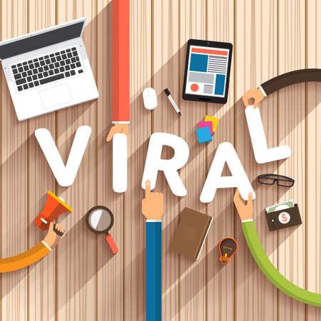 Flat design talking about digital marketing as text Viral on desktop.Vector Illustration