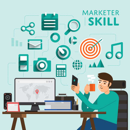 illustrate: Type of digital marketing show skill icon for Marketer.Vector Illustrate.