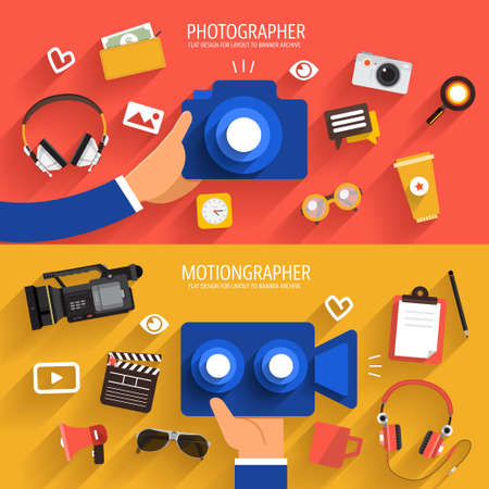 the photographer: Flat design vector concept photographer and video. Vector illustrate.