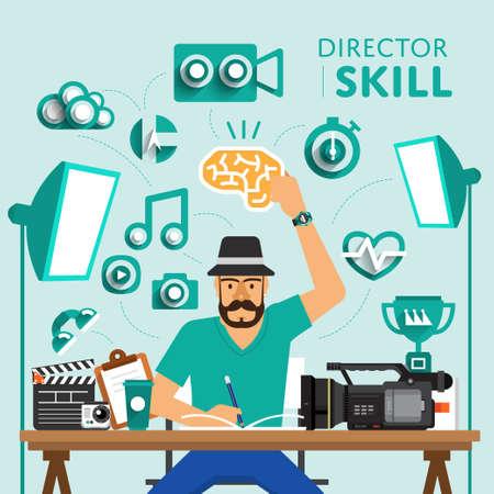 """Art der digitalen Marketing-Show Skill-Icon für """"Direktor"""" .Vector illustrieren."""