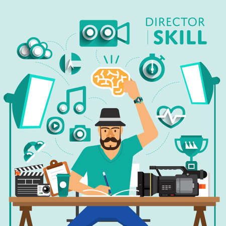 filmmaker: Type of digital marketing show skill icon for Director.Vector Illustrate.