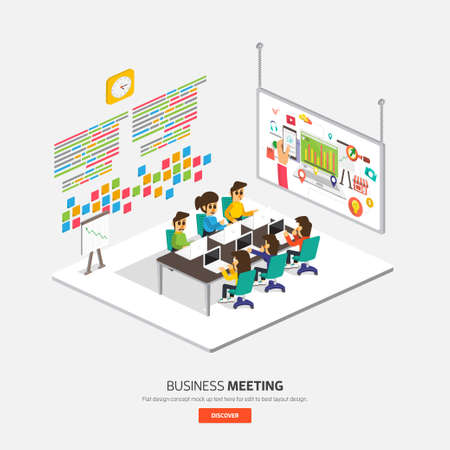 illustrate: Isometric flat design on table business concept Meeting show process. Vector illustrate Stock Photo