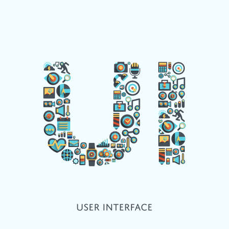 muti: Vector graphic shape biuild by muti icon to UI  User Interface  type symbol for your design.