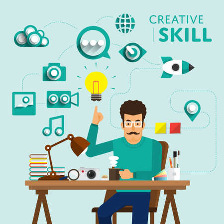carreer: Type of digital marketing show skill icon for Creative.Vector Illustrate. Stock Photo