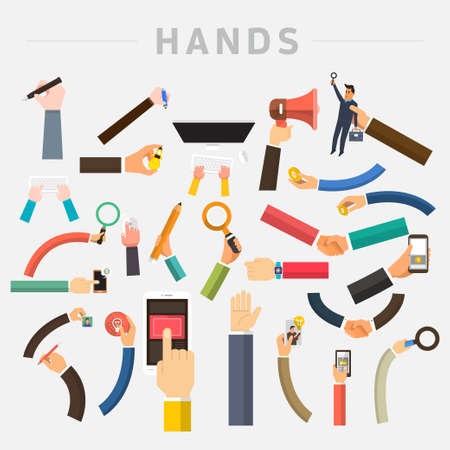 touch screen hand: Vector set hands. Mix hand hold multi device for use in muti layout design. Stock Photo