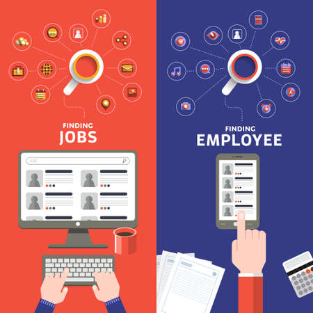 Flat design concept jobs search online by separate vision of applying and employee. Фото со стока