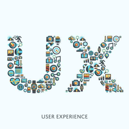 디자인을위한 UX  사용자 경험  타입 기호에 무티 아이콘으로 biuild 벡터 그래픽 모양.