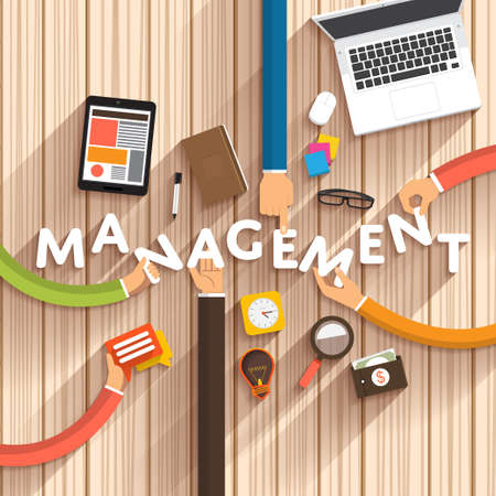 software design: Flat design talking about digital marketing as text Management on desktop.Vector Illustration Stock Photo