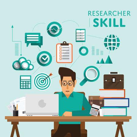 デジタル マーケティングのタイプは、「研究者」のスキル アイコンを表示します。ベクトルを示しています。 写真素材