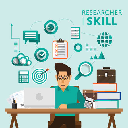 Type of digital marketing show skill icon for Researcher.Vector Illustrate.