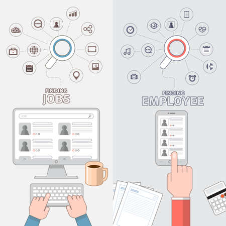 Flat design concept jobs search online by separate vision of applying and employee. Stock Photo