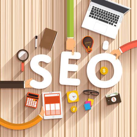 """Platte ontwerp over digitale marketing als tekst """"SEO"""" op desktop.Vector Illustratie Stockfoto"""