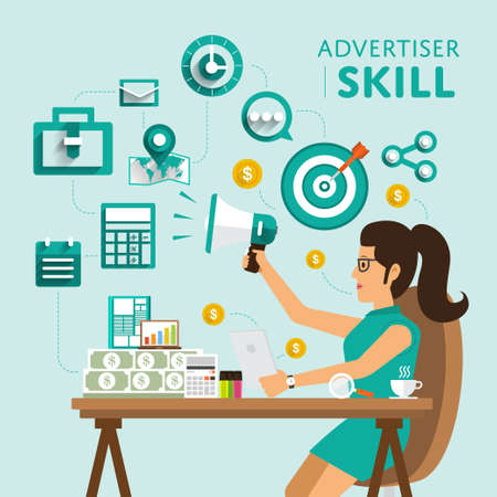 successful campaign: Type of digital marketing show skill icon for Advertiser.Vector Illustrate.