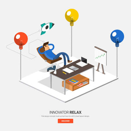 Isometric flat design on table business concept