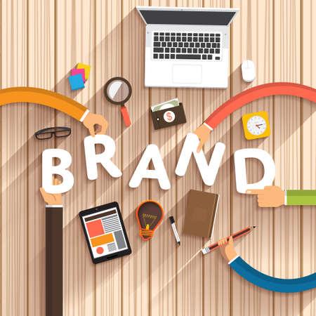 """empresas: Diseño plano hablando de marketing digital como texto """"Marca"""" creativo """"en la Ilustración desktop.Vector"""