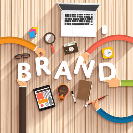 """Platte ontwerp over digitale marketing als tekst """"merk"""" Creative """"op desktop.Vector Illustratie Stockfoto"""