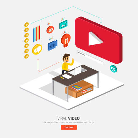 Video content marketing.Flat design concept for make momey with video.3d isometric vector. Vettoriali