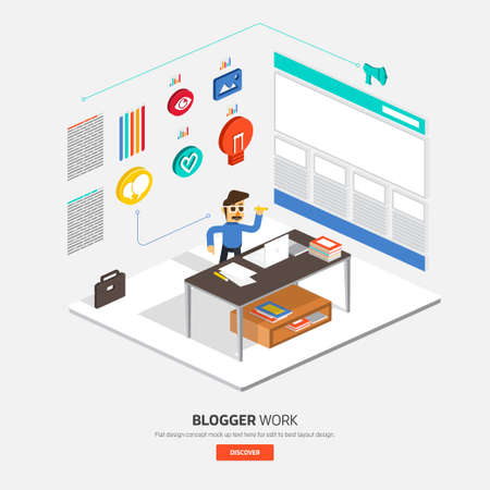 illustrate: Isometric flat design on table business concept Blogger show process. Vector illustrate. Illustration