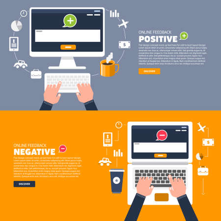 appraise: Business hand text to keyboard computer. Vector illustration of positive and negative feedback concept. Minimal and flat design