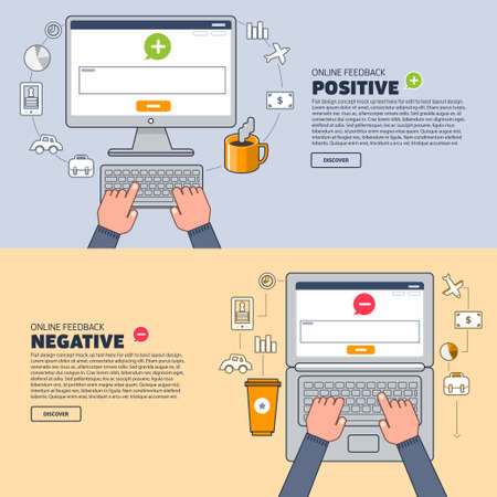 valuation: Business hand text to keyboard computer. Vector illustration of positive and negative feedback concept. Minimal and flat design