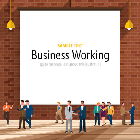 Business people with brick wall on the background.White paper canvas for use to layout with text or information.