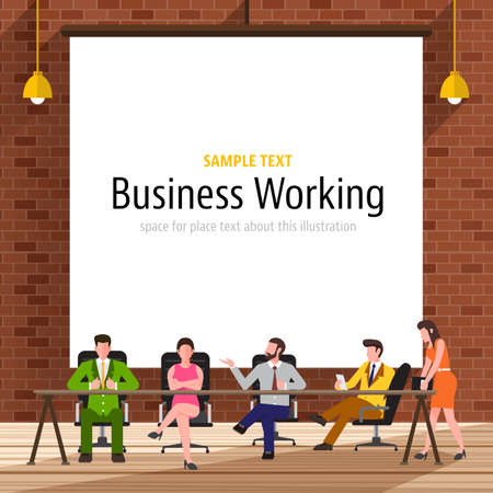 coworker banner: Business people with brick wall on the background.White paper canvas for use to layout with text or information.