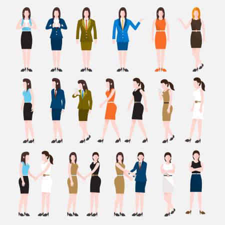 woman boss: Business Peoples acting in workplace - Vector Illustration, Graphic Design Editable For Your Design. Illustration