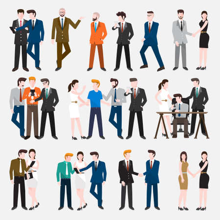 Business Peoples acting in workplace - Vector Illustration, Graphic Design Editable For Your Design. Illustration