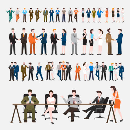 Business Peoples acting in workplace - Vector Illustration, Graphic Design Editable For Your Design. Ilustração