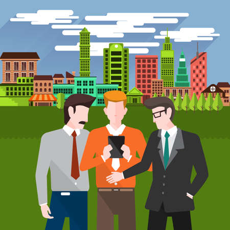busy person: Flat design concept business people discuss on city background