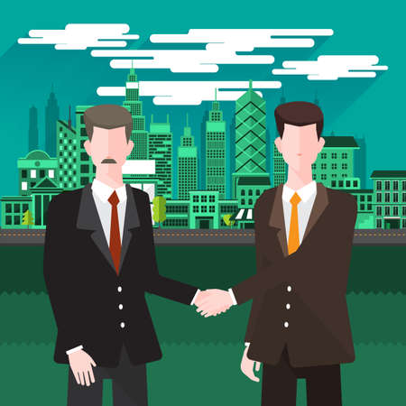 city background: Flat design concept business people discuss on city background